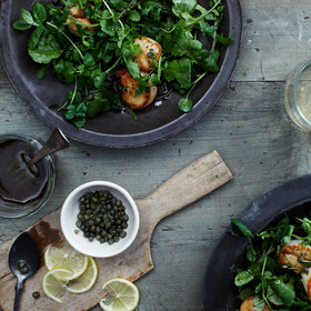 Food & Wine: Grilled Scallops over Mixed-Green and Herb Salad