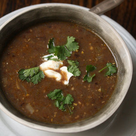 Food & Wine: Spicy Black Bean Soup with Cilantro Crema