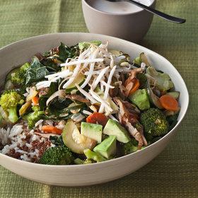 Food & Wine: Quinoa and Brown Rice Bowl with Vegetables and Tahini