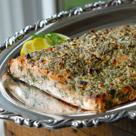 Food & Wine: Broiled Salmon with Blue Cheese, Lemon and Dill