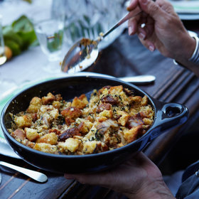 Food & Wine: Corn Bread Stuffing with Bacon and Greens