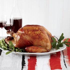 Food & Wine: Roasted Beer-Brined Turkey with Onion Gravy and Bacon