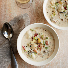 mkgalleryamp; Wine: Smoky Oyster Chowder with Bacon, Rosemary and Fennel