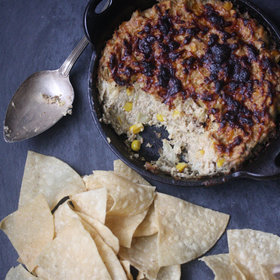 Food & Wine: Healthy Artichoke Dip with Corn, Cayenne and Parmesan Cheese