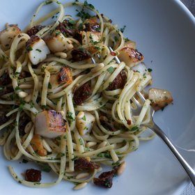 Food & Wine: Linguine with Scallops, Sun-Dried Tomatoes, and Pine Nuts