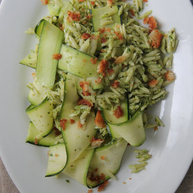 Food & Wine: Pesto Orzo with Zucchini Ribbons and Bread Crumbs