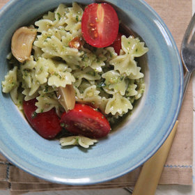 Food & Wine: Farfalle with Roasted Garlic Pesto and Cherry Tomatoes