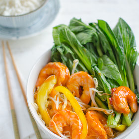 Food & Wine: Stir-Fried Szechuan Prawns with Bean Sprouts, Peppers and Gai Lan