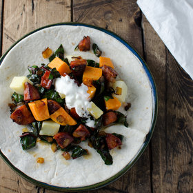 Food & Wine: Sweet Potato-Chorizo-Swiss Chard Burrito