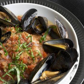 Food & Wine: Tuscan Tomato Bread Soup with Steamed Mussels