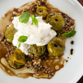 mkgalleryamp; Wine: Fregola with Roasted Green Tomatoes, Burrata and Mint