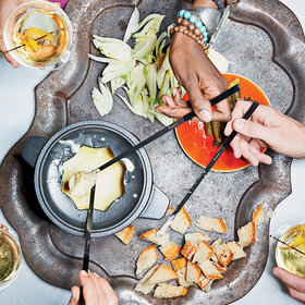 Food & Wine: Three-Cheese Fondue with Pickles