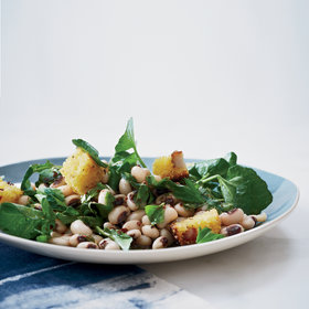 Food & Wine: Black-Eyed Pea and Watercress Salad with Corn Bread Croutons