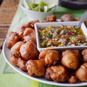 Food & Wine: Oyster Hush Puppies with Pepper Mojo