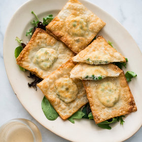 Food & Wine: Crispy Wonton Pea and Ricotta Ravioli