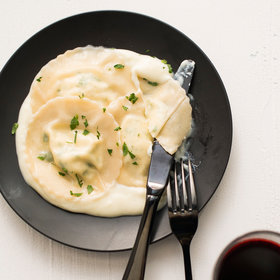 Food & Wine: Easy Wonton Goat Cheese Ravioli