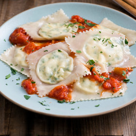 Food & Wine: Easy Wonton Spinach and Feta Ravioli