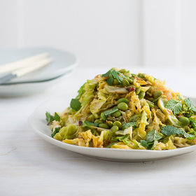 Food & Wine: Spicy Stir-Fried Savoy Cabbage and Edamame with Fresh Mint