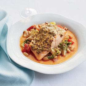 Food & Wine: Mustard Salmon with Cannellini Bean Ragù