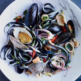 Food & Wine: Black-and-White Pici Pasta with Squid and Shellfish