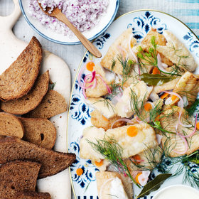 Food & Wine: Pickled Fried Fish with Danish Rye Bread and Crème Fraîche