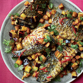 Food & Wine: Glazed Mackerel with Fried Eggplant and Mojo