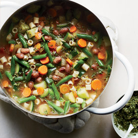 Food & Wine: Summer Vegetable Soup with Carrot Top-Pumpkin Seed Pistou