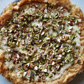 Food & Wine: Custard Phyllo Pie With Almonds and Pistachios