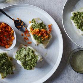 Food & Wine: Hake with Walnut Tahini and Carrot Tabbouleh