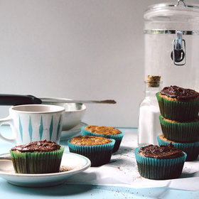 Food & Wine: Nutmeg-Banana-Carrot Muffins with Chocolate Ganache