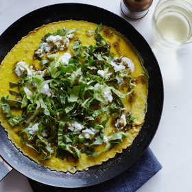 Food & Wine: Open-Face Omelets with Spicy Feta and Escarole