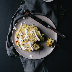 Food & Wine: Savory Pancakes with Roasted Garlic Whip