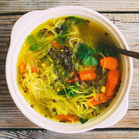 mkgalleryamp; Wine: Squash Noodle Soup with Healing Turmeric-Ginger Broth, Roasted Carrots and Beluga Lentils