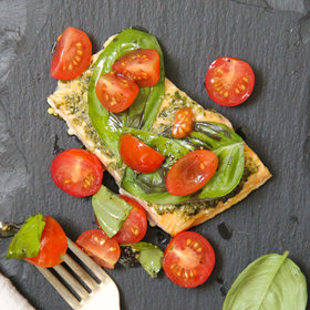 Food & Wine: Basil Baked Salmon with Cherry Tomato Salad