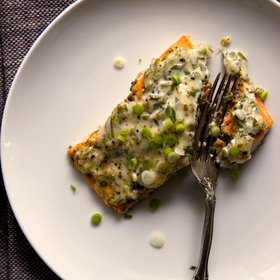 Food & Wine: Easy Scallion Mayonnaise Baked Salmon