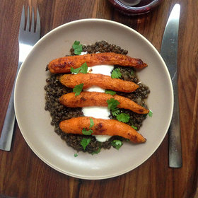 Food & Wine: Spice-Roasted Carrots with Middle Eastern–Style Lentils with Côtes du Rhône