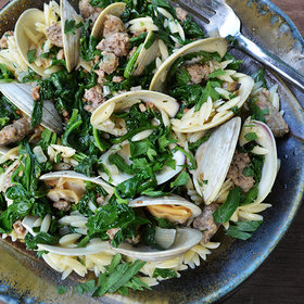 Food & Wine: Ragout of Clams with Spinach, Sausage and Orzo