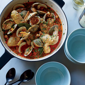 mkgalleryamp; Wine: Beer-Braised Chicken Wings with Clams and Chickpeas
