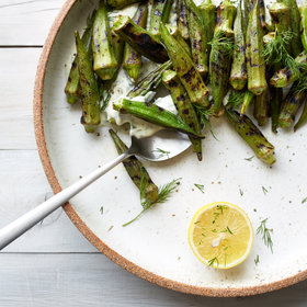 mkgalleryamp; Wine: Blistered Okra with Dill-Coriander Lebneh