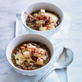 Food & Wine: Lentil Miso Soup with Bacon Sabayon