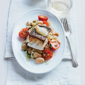 Food & Wine: Pan-Roasted Grouper with Tomato and Butter Bean Salad