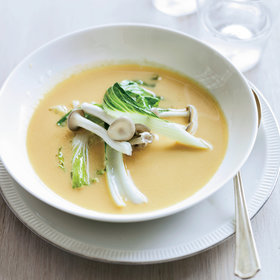 Food & Wine: Red Curry Squash Soup with Bok Choy and Pickled Mushrooms