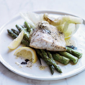Food & Wine: Roast Bass with Kombu Butter, Iceberg Lettuce and Asparagus