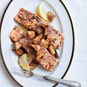 Food & Wine: Salmon Poached in Cinnamon Butter with Cedar-Planked Porcini