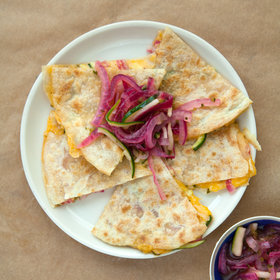 Food & Wine: Quick-Pickled Zucchini and Red Onion Salsa Quesadillas