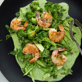 mkgalleryamp; Wine: Shrimp and Broccoli in a Spicy Cilantro-Coconut Sauce