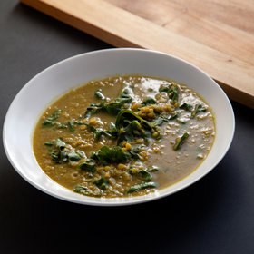 Food & Wine: Slow Cooker Indian-Spiced Red Lentil Soup with Swiss Chard