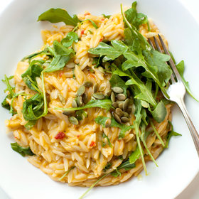 Food & Wine: Spicy Cheddar and Pumpkin Orzo with Arugula