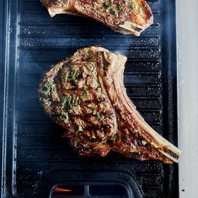 Food & Wine: Bone-In Rib Eye Steaks with Grilled Onion Jam