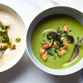 Food & Wine: Broccoli-Spinach Soup with Crispy Broccoli Florets and Croutons